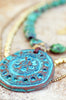 Bold Turquoise, Brass and Grecian Terra Cotta Shield Pendant Necklace