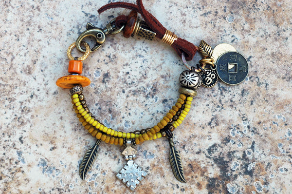 Soulful Amber, Yellow, Brass & Leather Boho Tribal Charm Bracelet