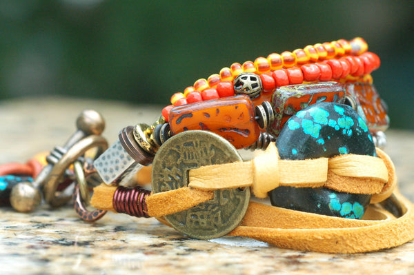 Exotic Orange Glass, Brass Coin, Leather & Turquoise Disc Charm Bracelet