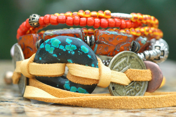 Exotic Orange Glass, Brass Coin, Leather & Turquoise Charm Bracelet