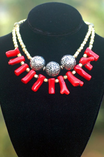 African Brass, Hammered Silver Balls & Bold Red Coral Fringe Necklace