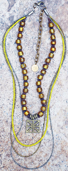 Long Everyday Yellow Glass and Mixed Metals Bohemian Tribal Necklace