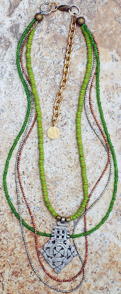 Long Everyday Green Glass and Mixed Metals Bohemian Tribal Necklace