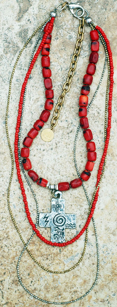 Long Everyday Red Coral and Mixed Metals Bohemian Tribal Necklace