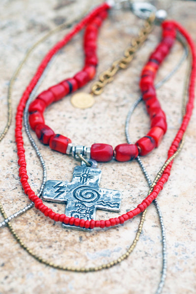 long bohemian red coral, red glass and mixed metals layered necklace