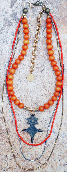 Long Everyday Orange Resin and Mixed Metals Bohemian Tribal Necklace