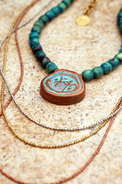Long Everyday Turquoise and Mixed Metals Bohemian Tribal Necklace