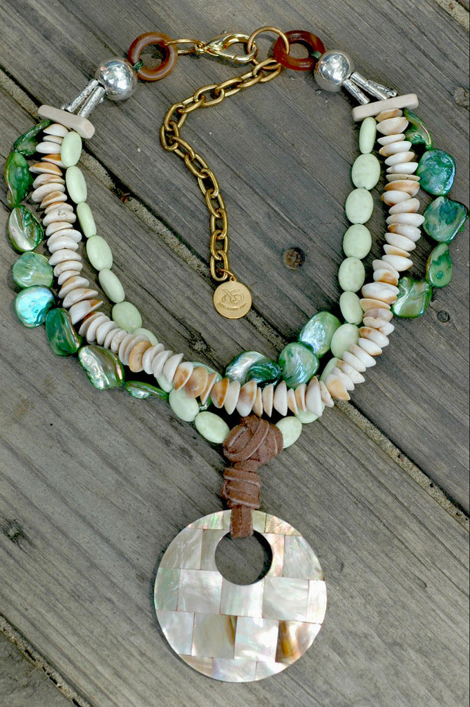 Green mother of pearl and shell mosaic pendant multi strand necklace aloadofball Choice Image