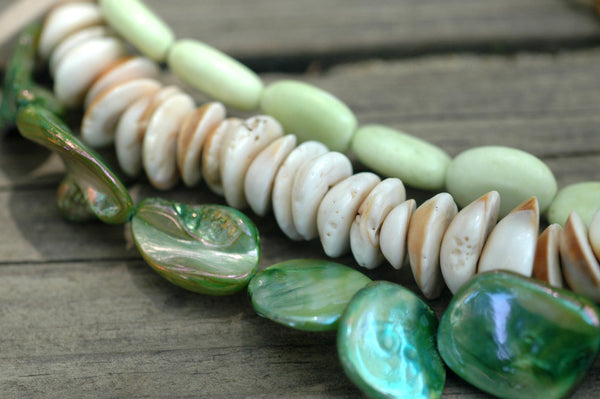 Green Mother of Pearl and Shell Mosaic Pendant Multi-Strand Necklace