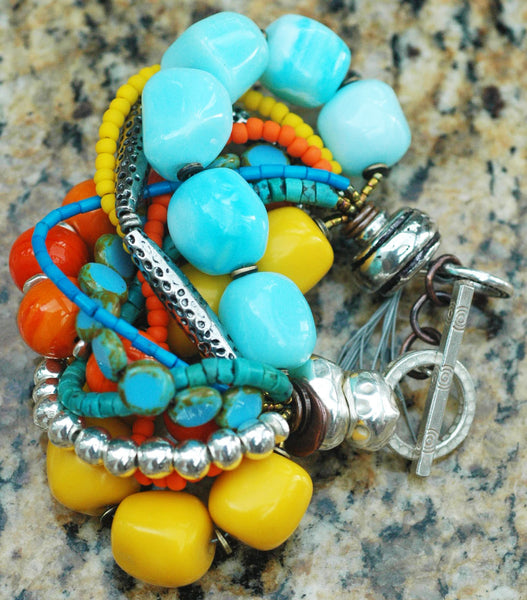 Colorful and Chunky Orange, Yellow, Blue and Silver Statement Bracelet