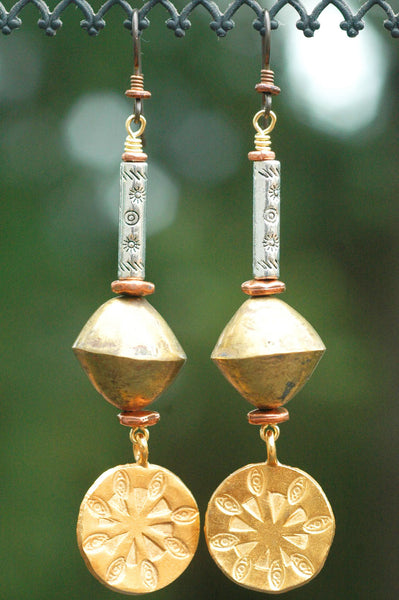 African Brass, Silver and Exotic Gold Disc Coin Dangle Earrings