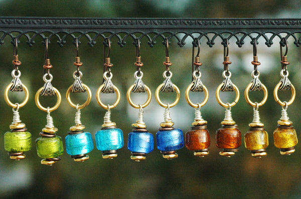 Shimmering Foil Glass Artisan Earrings Lime Turquoise Cobalt Amber