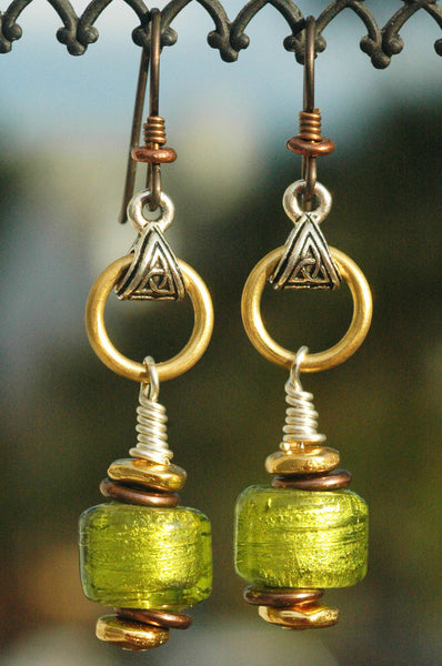 Lime Green and Bronze Shimmer Foil Glass Artisan Earrings