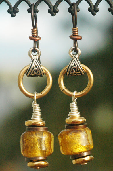 Gold and Bronze Shimmer Foil Glass Artisan Earrings