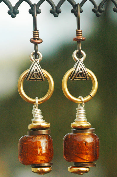 Amber and Bronze Shimmer Foil Glass Artisan Earrings