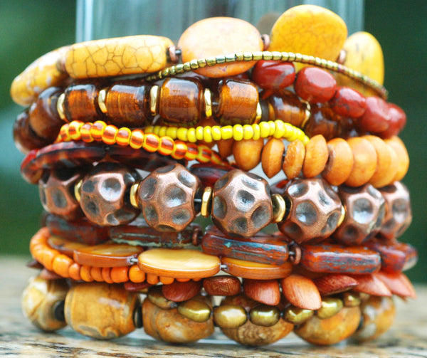 Stunning Rust, Amber and Copper Mixed Media Statement Cuff Bracelet