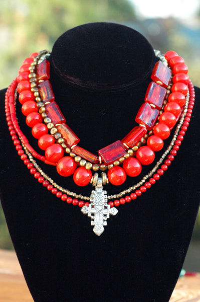 Beautiful Red Glass, Coral, Bronze Pearl and Ethiopian Cross Necklace