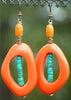 Orange & Turquoise Organic Ring Earrings