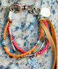 Orange, Pink and Silver Heart Friendship Bracelet