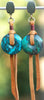 Rustic and Exotic Leather and Chinese Turquoise Disc Statement Earrings