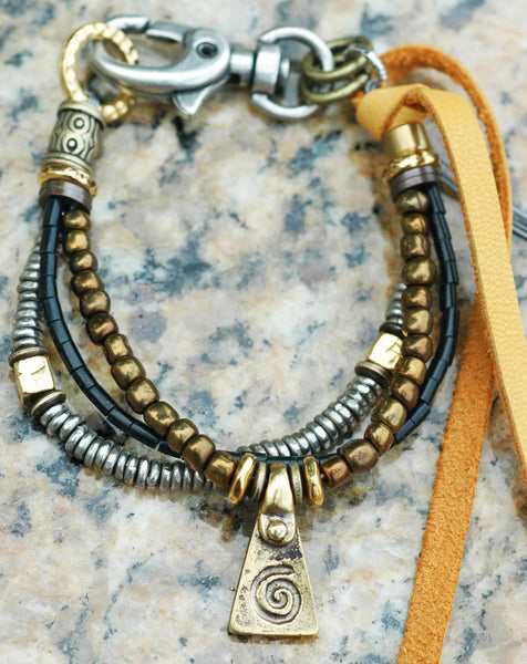 Black, Silver, Leather and Bronze Spiral Charm Friendship Bracelet