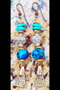 Custom Aegean Blue Ceramic, Turquoise, Gold and Exotic Charm Earrings