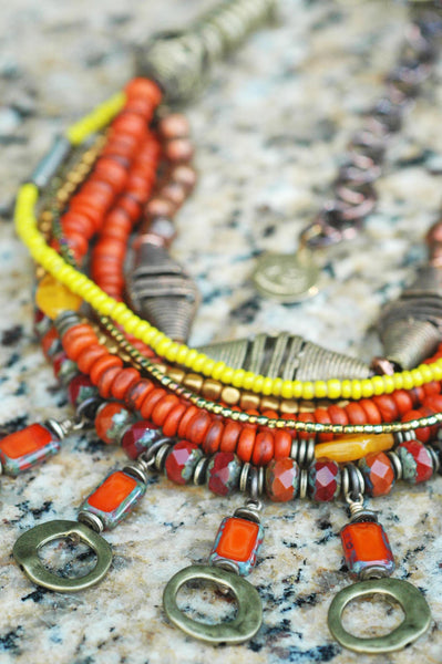 Exotic Rustic Orange, Yellow, Copper and African Brass Fringe Necklace