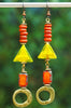 Vivid and Bold Rust Orange, Yellow and Bronze Disc Dangle Earrings