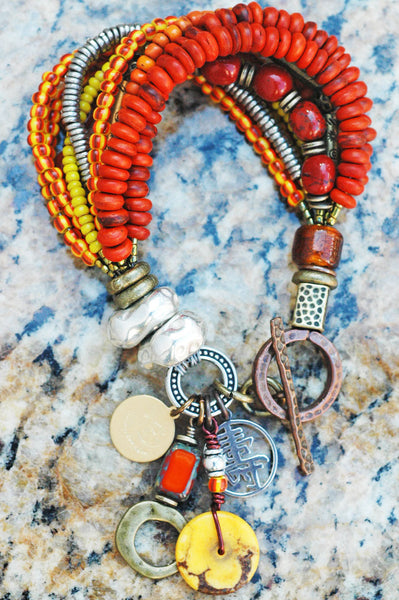 Exotic Rustic Orange, Yellow, Brass and Silver Artisan Charm Bracelet