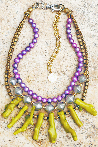 Exotic Purple Pearl, African Silver & Green Coral Statement Necklace