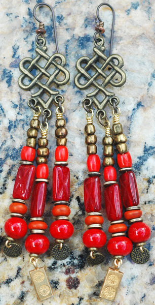 Stunning Red, Gold, Bronze and Brass Chandelier Statement Earrings