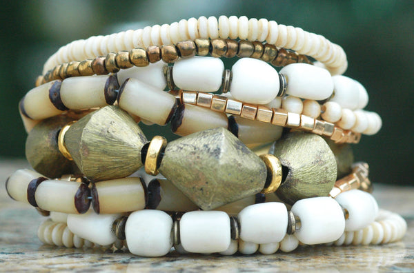 Bone White Glass & African Brass Multi-Strand Statement Bracelet