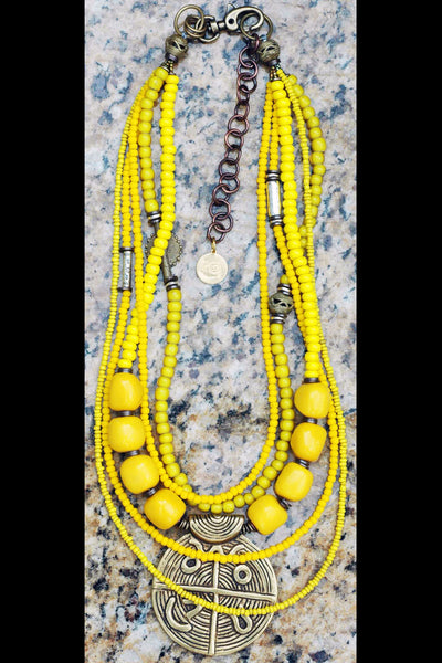 Long & Layered Vivid Yellow Glass and African Brass Pendant Necklace