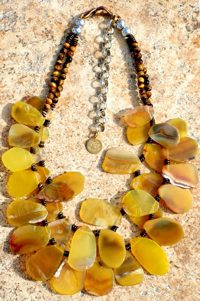 Designer Yellow Agate Slice and Tiger Eye Fringe Statement Necklace