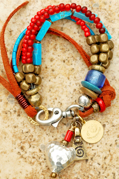 Custom made red and blue leather charm bracelet.