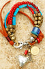 Custom made red and blue leather heart charm bracelet