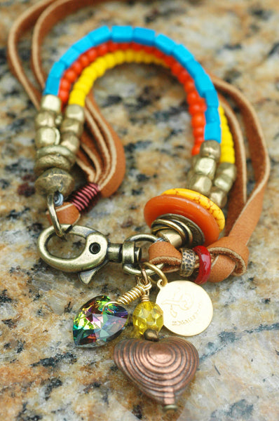 Heart Charm Bracelets: Glass, Mixed Metals and Leather Charm Bracelets