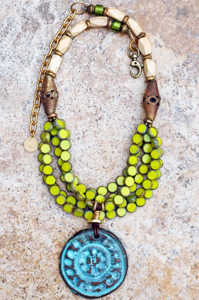 Designer Multi-Strand Lime and Turquoise Medallion Statement Necklace