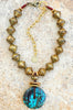 African Brass, Leather and Turquoise Donut Pendant Statement Necklace
