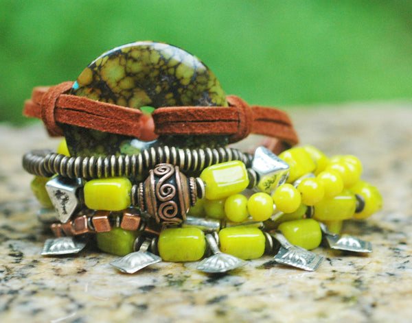Bohemian Chartreuse Glass, Turquoise, Leather & Silver Cross Bracelet