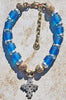 Indonesian Blue Resin, Silver & African Brass Cross Pendant Necklace