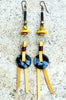 Yellow Brass Black Obsidian &Leather Fringe Tribal Statement Earrings