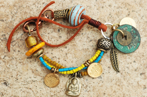 Soulful Turquoise, Yellow, Brass & Leather Boho Tribal Charm Bracelet