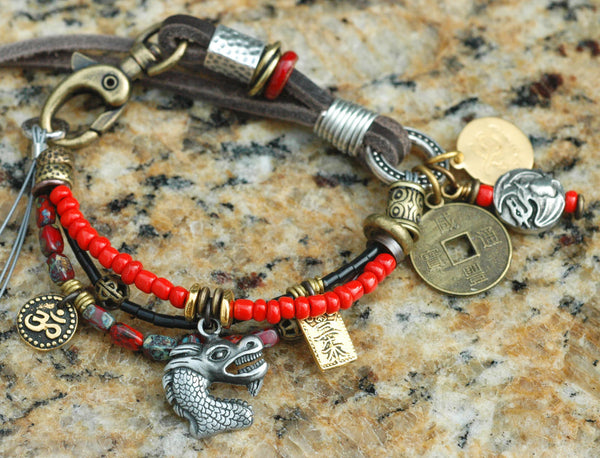 Soulful Red, Gold, Brass & Leather Boho Dragon Charm Bracelet