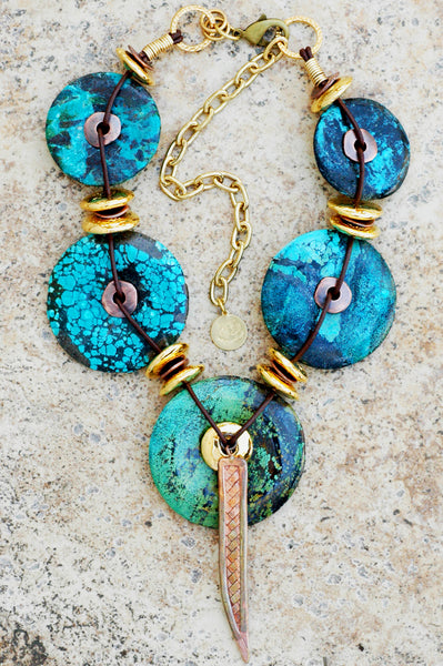 Bold and Exotic Turquoise, Gold and Copper Disc Statement Necklace