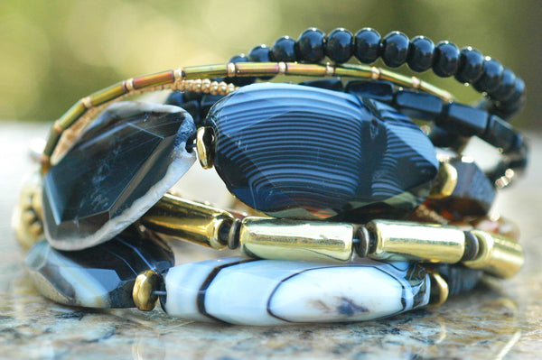 Multi-Strand Black Gold and Silver Elegant Artisan Statement Bracelet