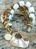 Mixed-Media White Venetian Glass, Bone & Pearl Boho Statement Bracelet