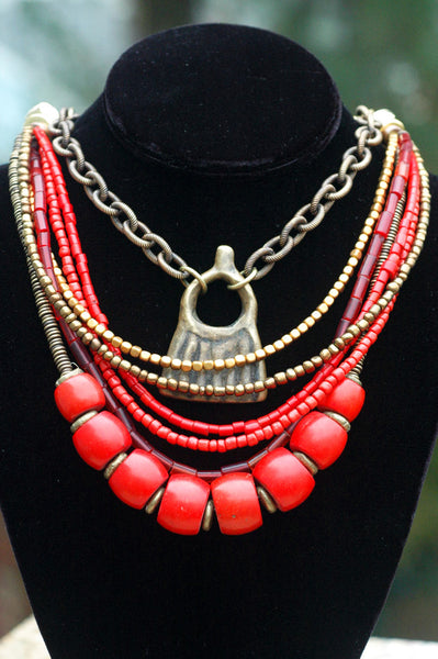 Red Coral, Bronze, Chain & African Brass Pendant Statement Necklace