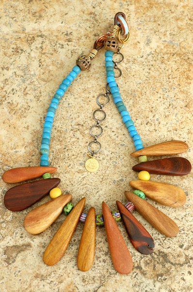 Exotic Tribal Wood & African Blue Trade Bead Fringe Statement Necklace