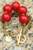 Stunning Bold Red Coral Ball, Bronze Pearl and Gold Statement Bracelet